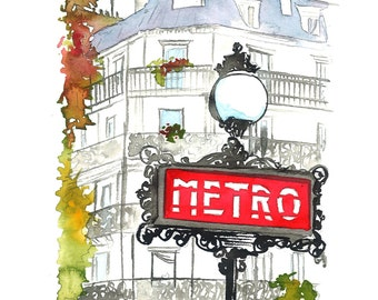 Paris Metro, print from original watercolor illustration by Jessica Durrant