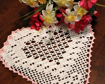 White and Pink Crochet heart doily