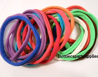 DESTASH Sale 50 pcs RANDOMLY MIXED Stretchy Nylon Choker Necklaces for Bottle Caps.  stretches to 10""