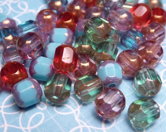Color Mix Cathedral Glass Beads 6mm - 20pc