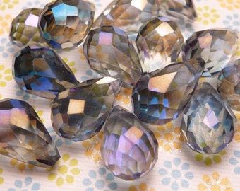 Montana Blue AB Faceted Crystal Teardrop Beads 13x9mm - 2pc