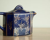 Vintage Hall Blue Gold Teapot Tea Asian Design