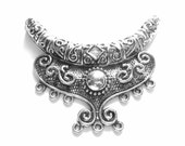 2 Antique silver Pendant charm  gypsy jewelry enhancer LG 64mm x92mm  boho chic  jewelry connector B334