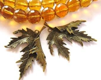 6 Bronze leaf charm pendants metal jewelry supplies 54mm x 44mm Bus 3843