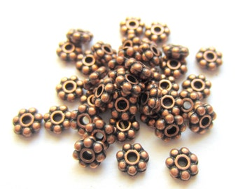 60 Spacer beads antique copper  jewelry making supplies 4mm copper daisy spacer beads 991Y(W4)