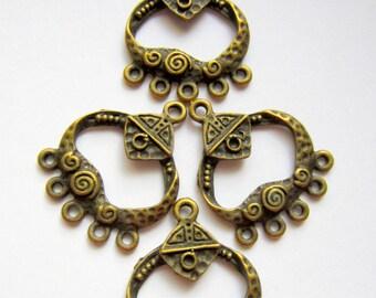 6 Earring dangles bronze pendant drops 26.5mm x 21.5mm ethnic chandeliers gypsy jewelry chic antique bronze 639Y (F6)