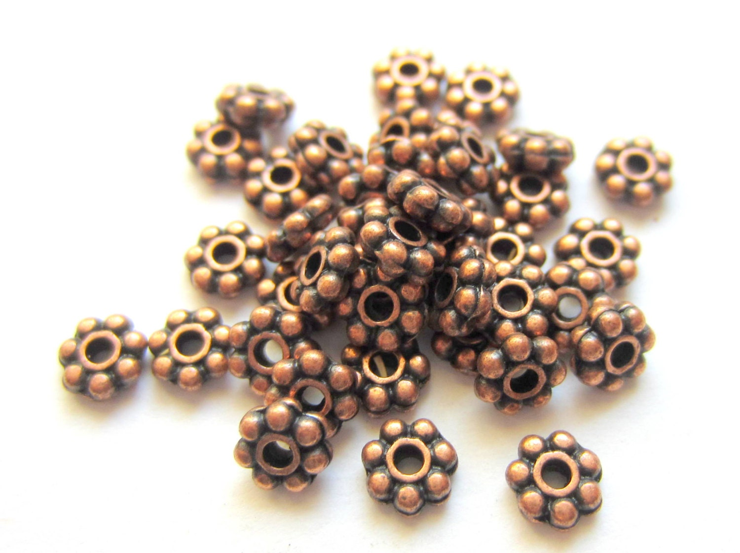 60 spacer beads antique copper jewelry making supplies 4mm