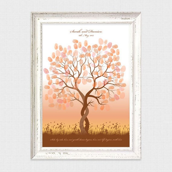 entwined fingerprint guest book tree - printable file - thumbprint wedding tree, customised personalised, unique, ketubah, fingerprint tree