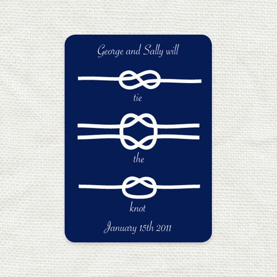 tie the knot save the date nautical wedding announcement printable digital file knots sea beach boating fishing navy
