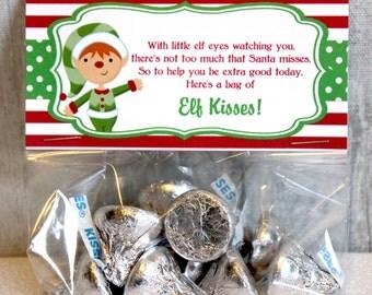 Elf Kisses Christmas Bag Topper Christmas Bag Topper, Printable bag topper, Printable Christmas, Elf Kisses, DIY, INSTANT DOWNLOAD
