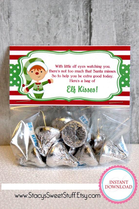 Items similar to elf kisses christmas bag topper diy