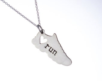 I love running necklace - Original Designer of the run charm necklace - sterling silver running charm marathon jewelry
