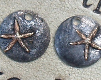 """2 - Tiny 1/2"""" Rustic Soldered Starfish Charms Pendants Bohemian Charm Copper Brass Metalwork, Metalsmith, Mixed Metals"""