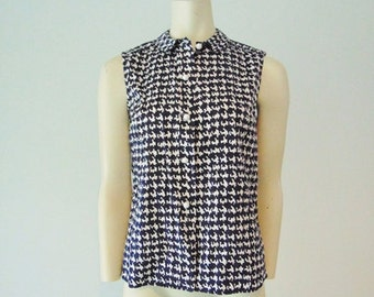 60s cotton Hounds tooth check blouse size medium
