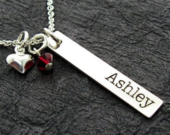 Personalized vertical name bar necklace with birthstone crystal and puffy heart - Personalized Necklace - Mother Necklace - Name Necklace