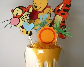 Tigger and Winnie the Pooh centerpiece, birthday party, gift, decoration