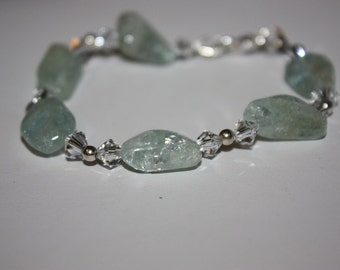 Adventurine and Crystal, Sterling Silver Bracelet