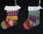 Pieced Ornaments, (#1) Pair, Scrappy Quilt Weight Fabric, Miniature. 3 Inches,  Satin Ribbon,  Country Decor, Hand Made in US