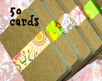 """3x5 Chipboard Cards (50) ... 3"""" x 5"""" Kraft Cards Smooth Surface Recycled Cardstock Recipe Cards Blank Cards Craft Supplies Art Supplies DIY"""