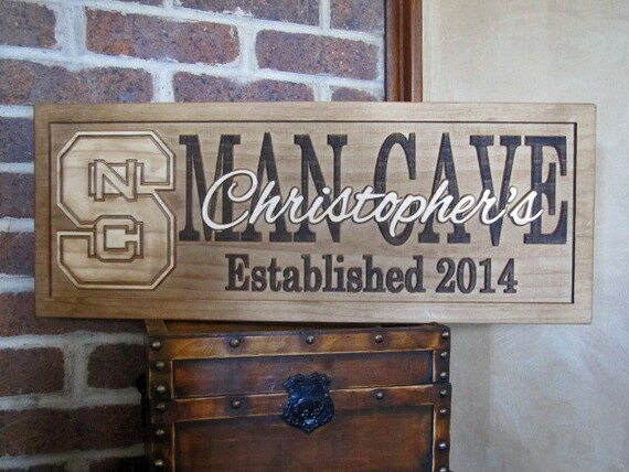 Personalized Nfl Man Cave Signs : Personalized sign man cave custom carved wood sport team logo