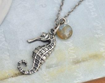 sterling silver seahorse necklace, silver seahorse necklace, sea creature, sea animal, animal lover necklace,