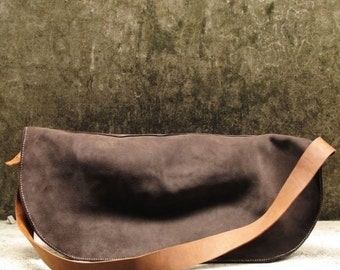 Hand-stitched Dark Brown Suede Leather Messenger / Unisex Bag