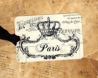 Paris Tags, French Crown Tags, Vintage Style