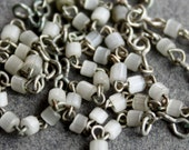 40 Antique French Opaline Nacre Satin Glass Rosary Beads / Salvaged Antique Jewelry Supplies