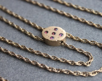 Long Victorian Necklace with Jeweled Ruby Slide