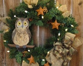 Owl Winter Wreath - Lighted with white lights