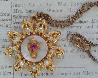 Vintage Aurora Borealis Rhinestone and Cross Necklace