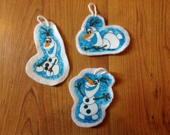 Frozen inspired christmas ornament set of 3 (not a licensed product) Olaf set 2