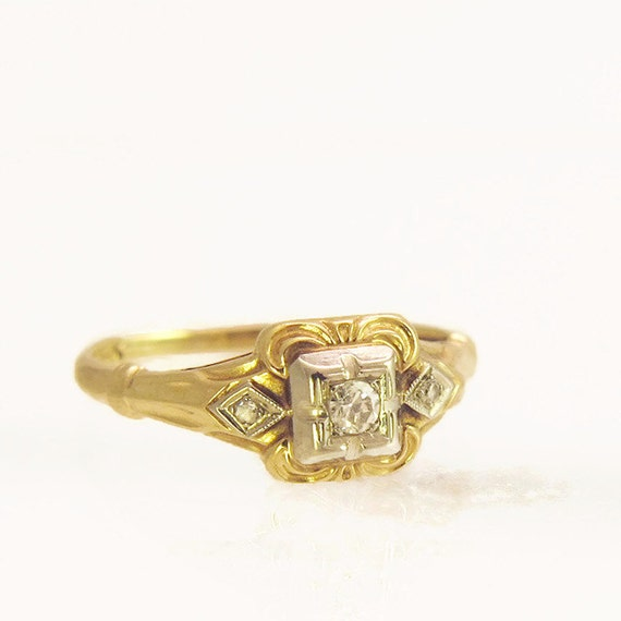 antique engagement ring 14k edwardian by
