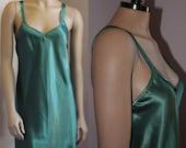 Vintage woodland green satin chemise