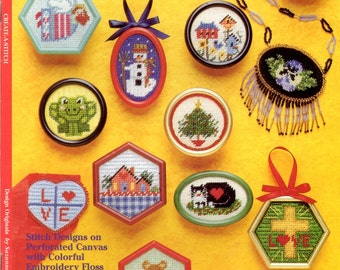 Create a Stitch Frames and Forms Miniature Plastic Canvas Counted Cross Stitch Embroidery Motifs by Darice Craft Pattern Leaflet 2501