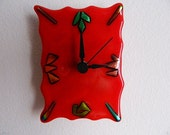 Fire and Flames, Fused Glass Wall or Desk Clock, Original Signed Art Piece