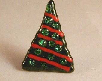 Whimsical sparkly Fused Glass Christmas tree pin, CT1412