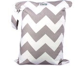 LARGE Wet Bag with Zipper and Waterproof Lining - Gray Chevron - FAST SHIPPING