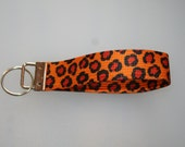 Jaguar print webbing key fob chain holder wristlet