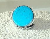 Turquoise Glittery Pill Tin - Pill Box - Pill Container - Silver Tone Pill Case - Round Pill Box - Bridesmaids Gift - 001F