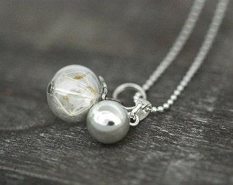 925 Sterling Silver Real Dandelion Necklace