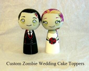 Custom Zombie Wedding Cake Toppers Wood Kokeshi Doll Wedding Decor