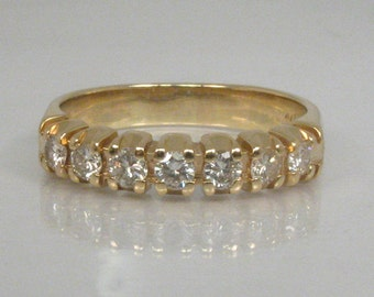 Vintage 14K Diamond Wedding Band - 0.52 Carats Diamond Total Weight - Appraisal Included