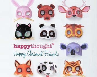 10 printable animal masks: Dog, Cat, Bear, Owl, Fox, Tiger, Deer, Rabbit, Koala and Panda. DIY templates to print & make by Happythought.