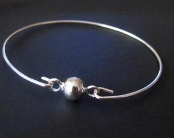 Sterling Silver Bracelet, Round Bead Bracelet, Bangle Bracelet, Jewelry, Friendship Bracelet, Gift