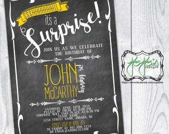 Chalkboard Surprise Birthday Invitation