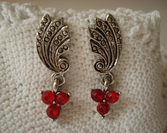 Vintage Marcasite Silver Pierced Earrings Ruby Red Rhinestones