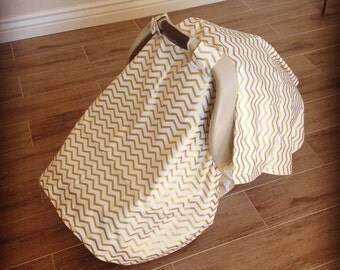 Gold Chevron Car Seat Canopy - FREE SHIPPING in USA