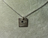 """small """"f*ck it."""" pendant -- Hand Stamped Sterling Silver Necklace (mature language)"""