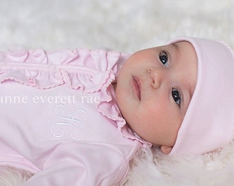 Baby Girl Coming Home Outfit,Newborn Baby Girl Clothes,Baby Boutique,Lucy Pink Ruffled Footed Sleeper,Newborn Girl Coming Home Outfit